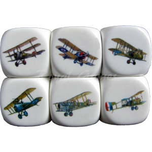 Set 6 dice British First World War Aircraft 22mm.