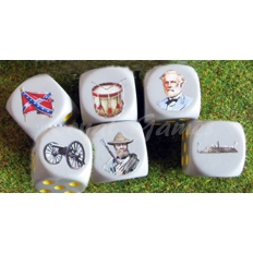 Set Confederate Army 6 dice  Dice 16 mm.