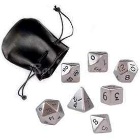 Set of 7 standard metal poly dice Brushed Steel packed in a faux leather pouch