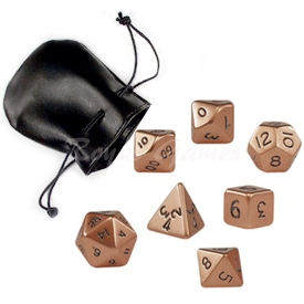 Set of 7 standard metal poly dice Copper packed in a faux leather pouch