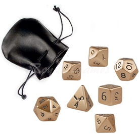 Set of 7 standard metal poly dice Gold packed in a faux leather pouch