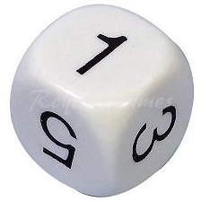 Plastic number Dice 1,2,3,4,5,6