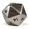 Jumbo 20 Sided Metal Poly Dice Steel