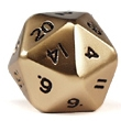 Jumbo 20 Sided Metal Poly Dice Gold